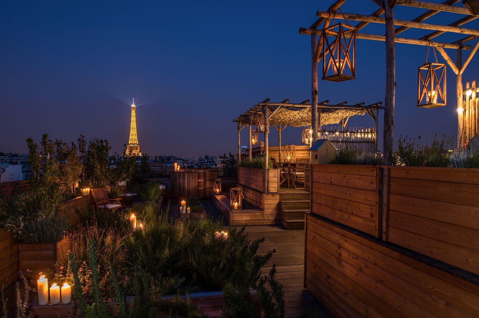 Rooftop avec potager & jardin urbain, hôtel Brach Paris